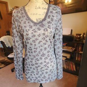 BKE leopard print lace trim size Large top